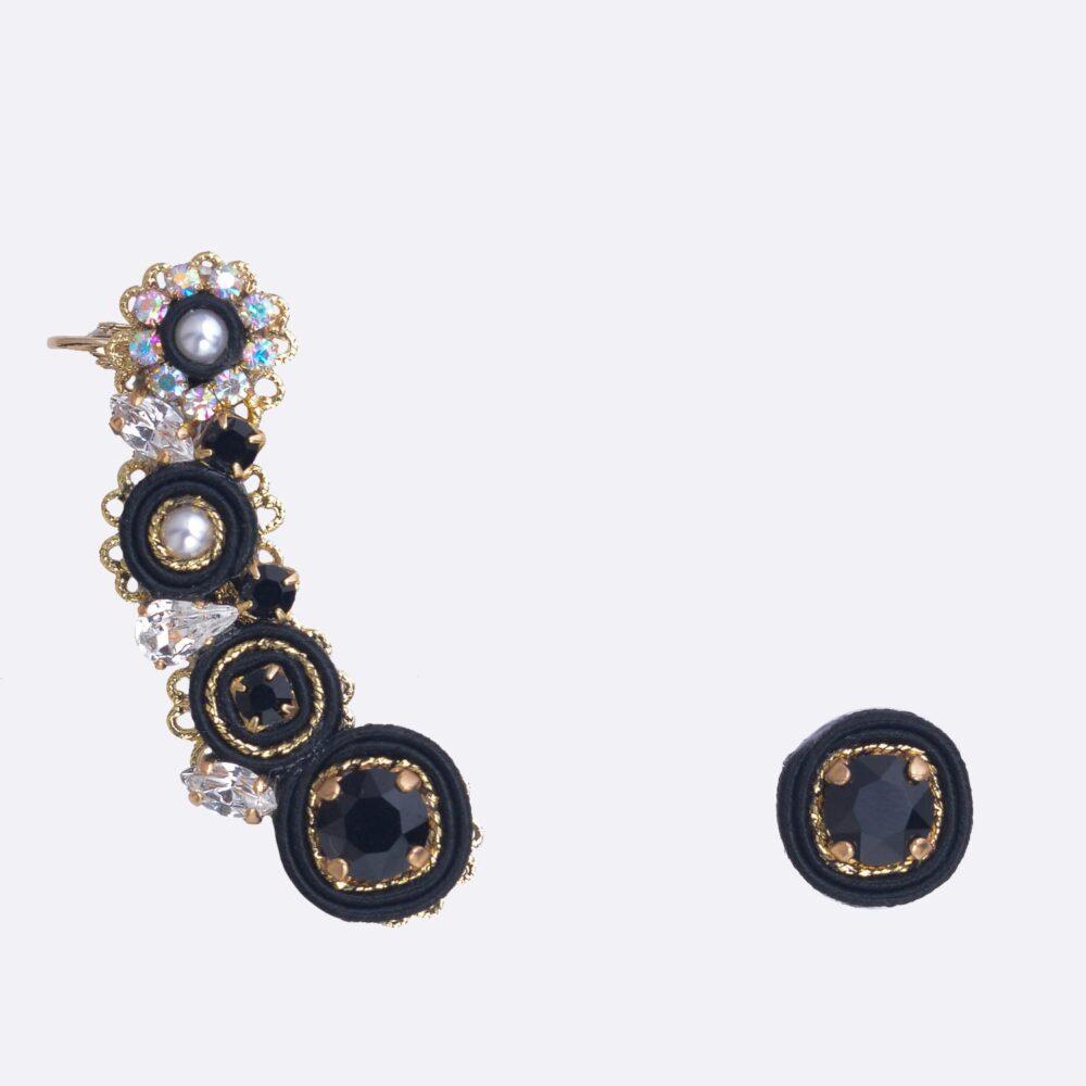 orecchini per matrimonio particolari, ideali per cerimonie. ear cuff con tessuto e swarovski fatti a mano.