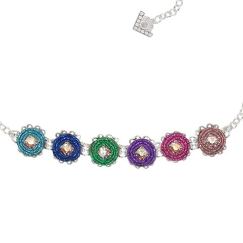 collana choker lunghezza regolabile passamaneria lurex multicolore in bronzo con moduli rotondi glitter DIVAG