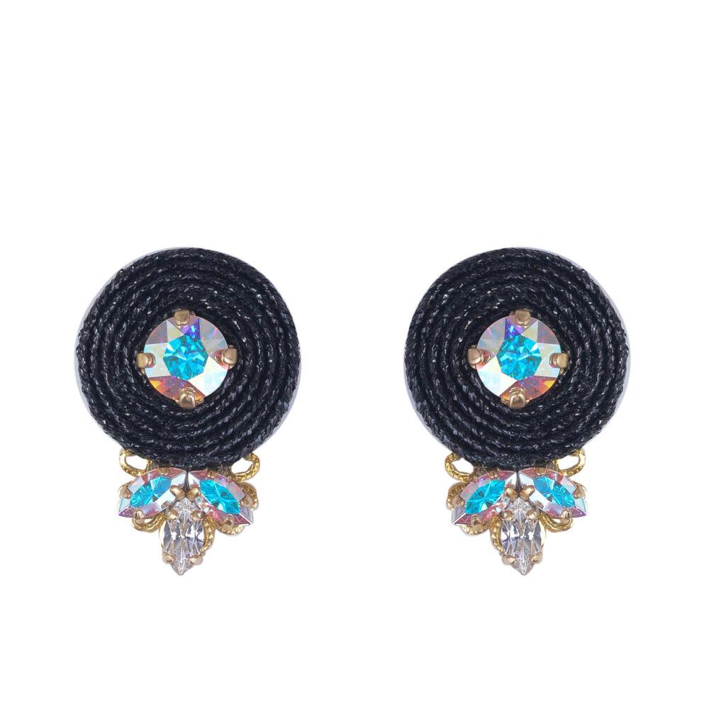 Orecchino da donna circolare tessuto glitter nero e cristalli swarovski crystal e aurora boreale a punta