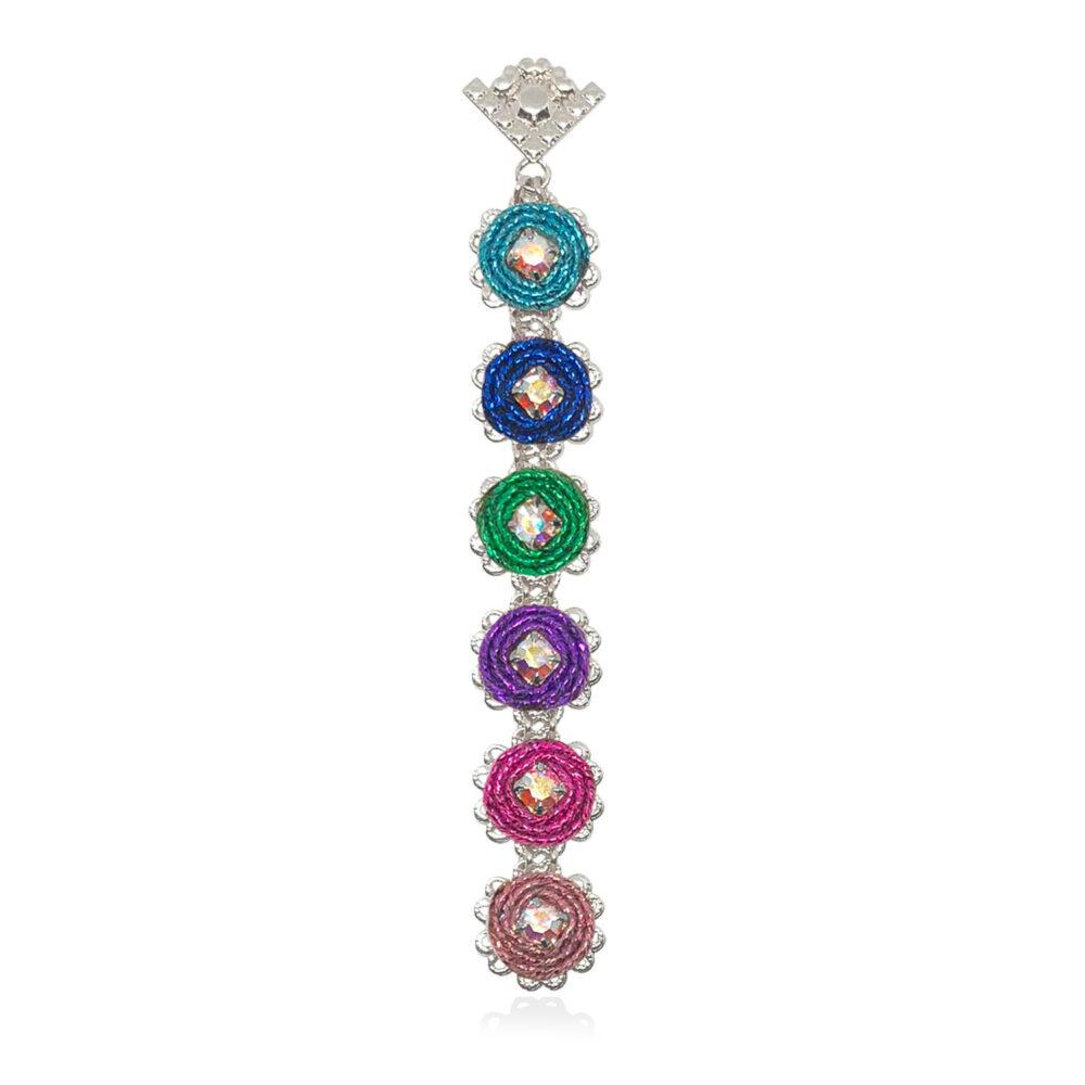 Orecchino pendente lungo piccolo e leggero con cerchi in tessuto lurex multicolore e decorazioni in cristalli swarovski
