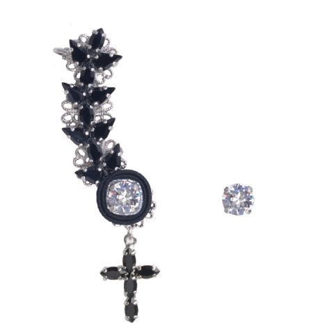 Ear cuff donna con pendente a forma di croce cristalli swarovski DIVAG con Orecchino punto luce swarovski luminoso abbinato