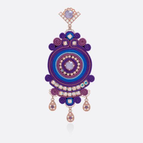 Orecchino grande da donna pendente circolare in stoffa, seta blu e viola, zirconi e swarovski, bronzo e argento DIVAG