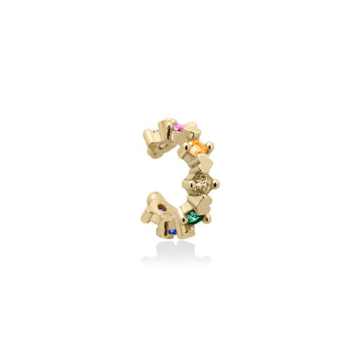 ear cuff Swarovski colorati in argento 925 oro giallo, orecchini senza buco arcobaleno. gioielli senza nichel.
