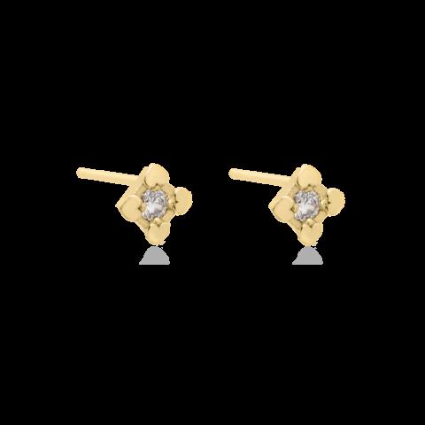 punti luce orecchini con cuori in argento placcati oro, brillantino colorato personalizzabile. gioielli alla moda anallergici.