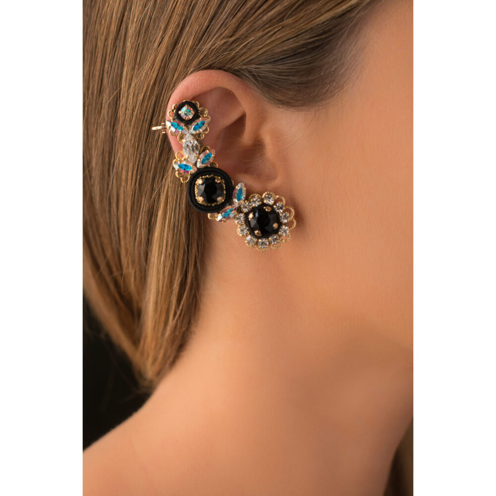 Ear cuff orecchini donna foglie e fiori cristalli swarovski e zirconi colorati, dettagli in stoffa seta nero