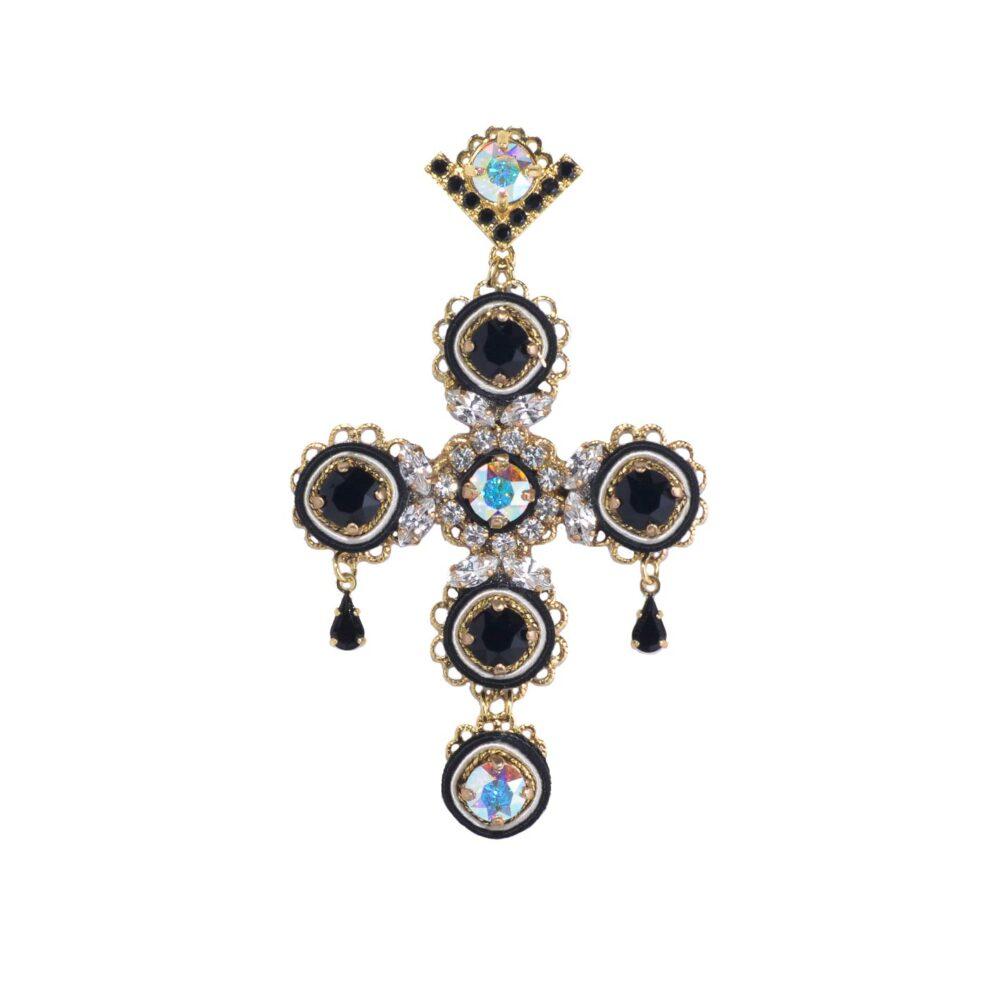Orecchino pendente elegante a croce grande con cristalli svarovski e zirconi colorati, argento e bronzo e seta colorata nero lavorata a mano