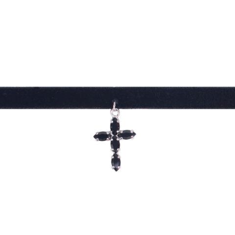 Collana choker tessuto elasticizzato nero con ciondolo pendente croce in swarovski nero e argento