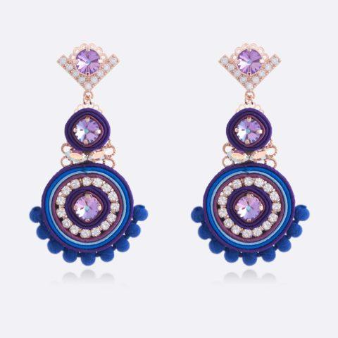 Orecchini pendenti medi personalizzati zirconi colorati crystal e vitrail light, stoffa blu viola azzurro elegante, argento e bronzo oro rosa