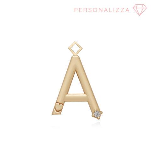 ciondolo per orecchini a forma di lettera grande con cuore e zircone in argento 925 dorato. Personalizzabile con la lettera del tuo nome