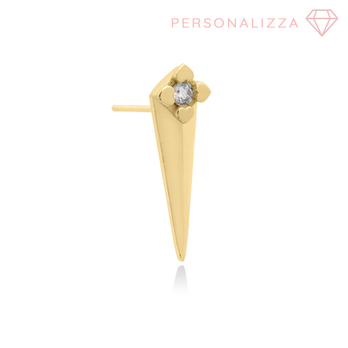 orecchini a lobo con punte in argento e brillantino colorato, gioielli alla moda anallergici.