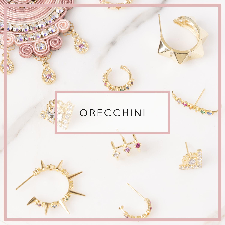 gioielli orecchini anallergici, set orecchini a cerchio, a bottone, in argento 925 placcato oro senza nichel.