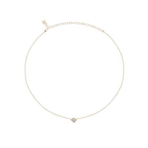 Collana da donna regolabile, con catena sottile in argento 925 e elemento centrale a forma di V. Argento 925 e preziosi zirconi incastonati
