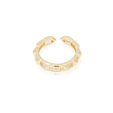 anello da donna con borchie a forma di piramidi in argento 925 placcato oro, fatto a mano free nichel.